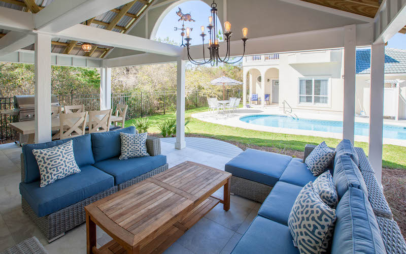 An outdoor seating area at a 30A vacation rental